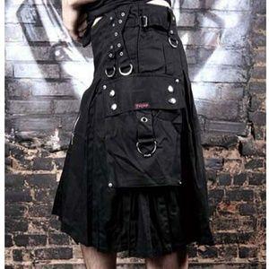 Tripp NYC Black Grommet Kilt Skirt Mens Unisex M